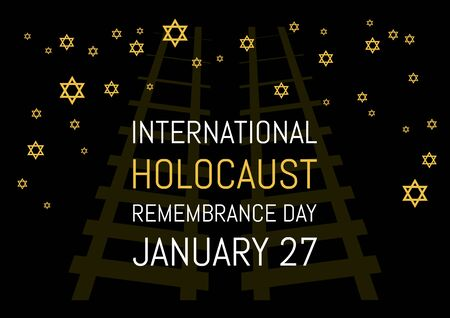 Remembrance Day vector. Jewish stars on black background.  Remembrance Day Poster