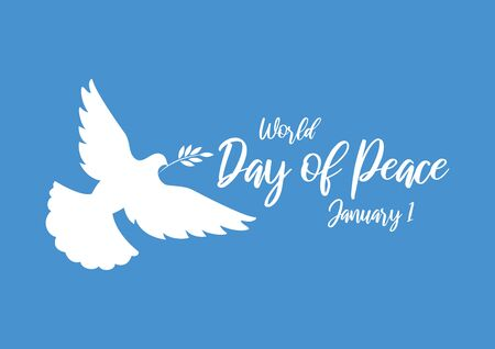 Vector Illustration Keywords: Vector Illustration Keywords: Dove silhouette on blue background. Day of Peace Poster, January 1
