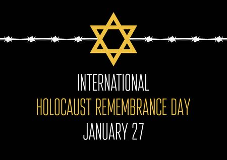 Remembrance Day vector. Jewish star with barbed wire on black background.  Remembrance Day Poster