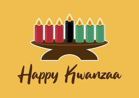 Happy Kwanzaa vector. African American Cultural Holiday. Candle holder kinara vector. Candles in vector. Kwanzaa Poster, December 26. Important day