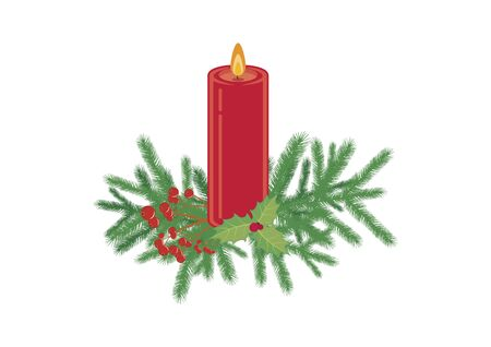 Christmas Candle with Spruce Twig Vector. Red candle with twig. Vector Illustration Keywords: Red Christmas decoration isolated on a white background
