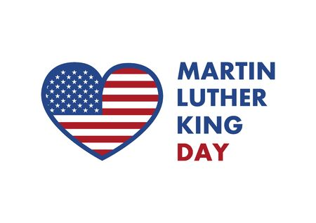 Martin Luther King Jr. Day vector. American hero icon. American flag heart. Martin Luther King Day icon isolated on white background. American federal holiday. Important day