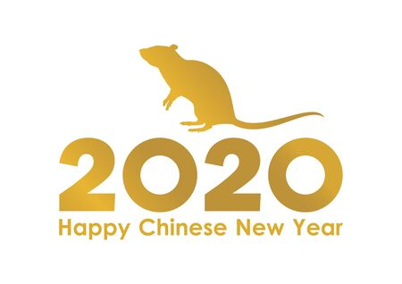 Chinese New Year 2020 vector. Gold inscription Happy Chinese New Year. Vector Illustration Keywords: Gold 2020 Chinese New Year icon isolated on white background