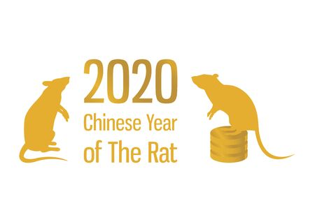 Chinese New Year 2020 vector. Gold inscription Happy Chinese New Year. Vector Illustration Keywords: Gold 2020 Chinese New Year icon isolated on white background. Vector Illustration Keywords: