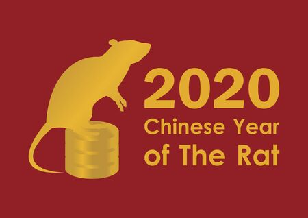 Chinese New Year 2020 vector. Gold inscription Happy Chinese New Year. Vector Illustration Keywords: 2020 Chinese New Year Sign