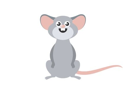 Vector Illustration Keywords: Cute rat isolated on white background. Adorable rat cartoon character. Cheerful mouse cartoon character