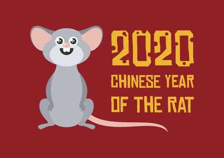 Chinese New Year 2020 vector. 2020 Chinese New Year Sign. Adorable rat cartoon character. Cheerful mouse cartoon character. Cute mouse icon. Vector Illustration Keywords:
