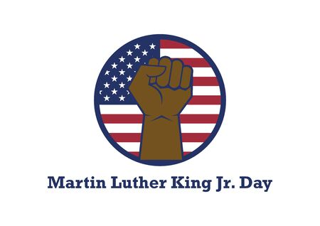 Martin Luther King Jr. Day vector. American hero icon. Martin Luther King Day icon isolated on white background. Afro american hand with clenched fist. American federal holiday. Important day
