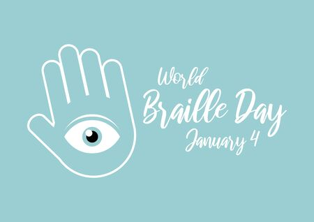 World Braille Day vector. Eyes in the hands vector illustration. Human hands with eyes on the palms. Important day