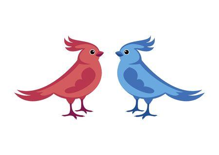 Vector Illustration Keywords: Bird isolated on white background. Birds icon set. Cute bird cartoon character. Colorful birds clip art Ilustración de vector