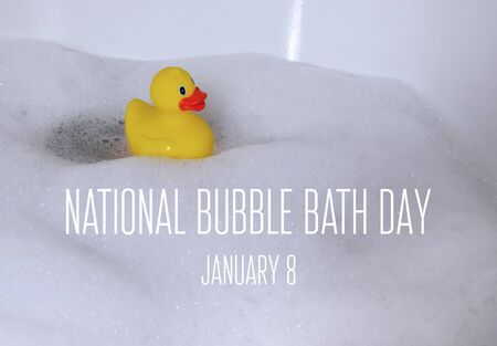 Bubble Bath Day images. Yellow plastic duck in the bath. Bath with foam images. Bubble Bath Day Poster