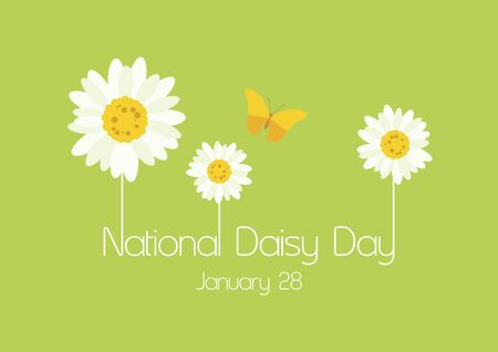 Vector Illustration Keywords: Daisy icon vector. Beautiful daisies on green background. Daisy Day Poster