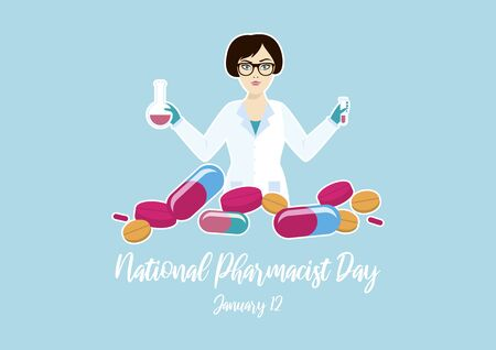 Vector Illustration Keywords: Vector Illustration Keywords: Woman in white lab coat. Woman in science icon vector. Pharmacist Day Poster, January 12th. Important day