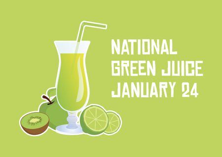 Vector Illustration Keywords: Green fruit smoothie vector. Glass of juice with fruits icon. Smoothie on green background. Important day