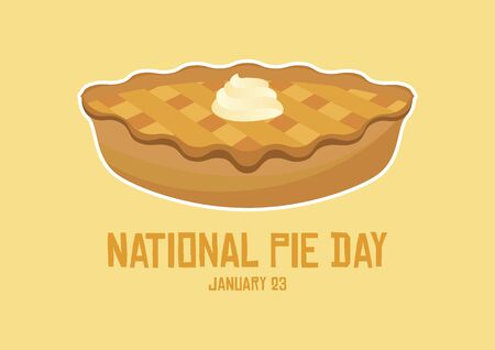 Vector Illustration Keywords: Apple Pie icon vector. Cake with whipped cream vector. Classic American Pie Clip Art. Pie Day Poster Ilustração