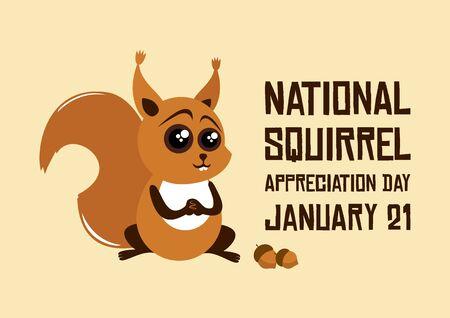National Squirrel Appreciation Day vector. Squirrel  nuts vector. Cute squirrel cartoon character. Rusty squirrel vector