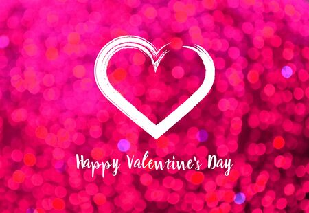 Happy Valentines Day sign with heart shape. Pink background with heart stock images. Pink Valentines Day glitter background. Painted heart shape Imagens