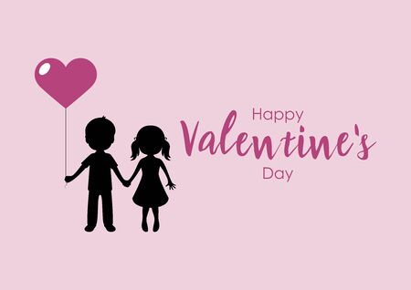 Enamored boy and girl are holding heart balloon vector. Vector Illustration Keywords: Girl and boy in love cartoon holding hands. Kids in love silhouette. Valentines Day Greeting Card