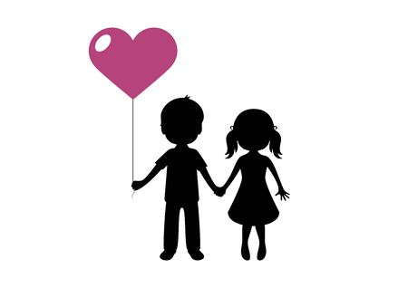 Vector Illustration Keywords: Enamored boy and girl are holding heart balloon vector. Kids in love silhouette. Valentines Day Greeting Card Ilustrace