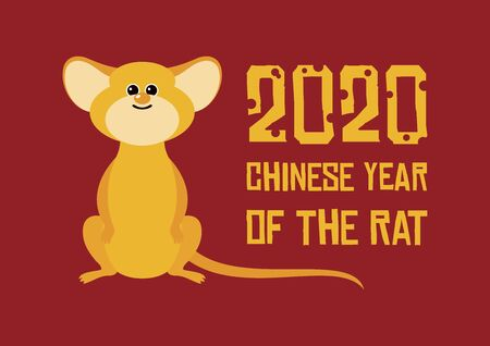 Chinese New Year 2020 vector. 2020 Chinese New Year Sign. Adorable rat cartoon character. Mouse cartoon character. Cute mouse icon. Vector Illustration Keywords: