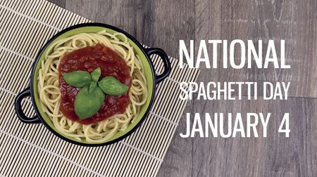National Spaghetti Day images. Spaghetti pasta with tomato sauce on wooden table stock images. Bowl of spaghetti. Pasta with basil on a wooden background. Spaghetti Day Poster