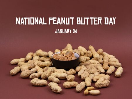 National Peanut Butter Day Peanuts on brown background stock images. Pile of Peanuts with Nutshell. Jar of peanut butter images. Roasted Peanuts. American delicacy Imagens