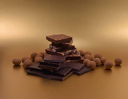 Chocolate candies stock photography Chocolate sweets stock images. Pile of chocolate stock images. Luxury chocolate isolated on a white background