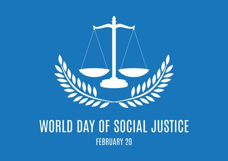 Vector Illustration Keywords: Judicial weight silhouette icon. Day of Social Justice Poster