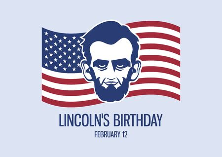 Vector Illustration Keywords: President Abraham Lincoln head vector icon. Lincoln with american flag. Lincoln's Birthday Poster