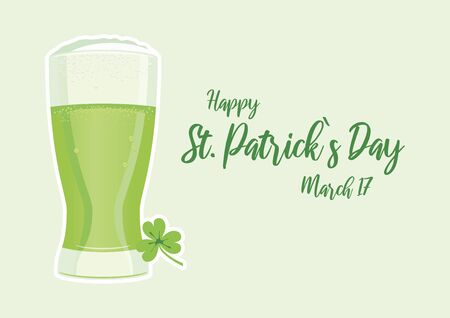 Happy Saint Patrick's Day. Vector Illustration Keywords: Pint of green beer icon. Saint Patricks Day Poster Archivio Fotografico - 138030912