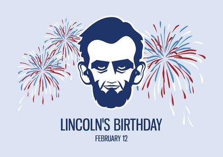 Vector Illustration Keywords: President Abraham Lincoln head vector icon. Lincoln with fireworks. Lincolns Birthday Poster