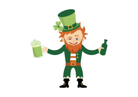 Drunk leprechaun cartoon character. Saint Patrick's Day with Drunken Leprechaun Vector. Funny leprechaun with beer vector Illustration
