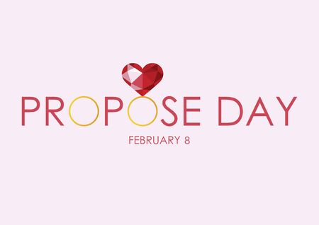 Vector Illustration Keywords: Ring with big diamond. Red diamond heart. Polygonal red heart vector. Graphic diamond heart. Propose Day Poster, February 8