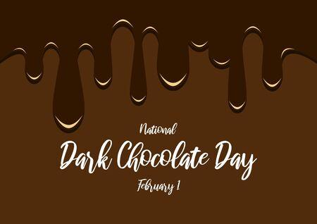 Vector Illustration Keywords: Liquid Chocolate Brown Background. Flowing chocolate on brown background. Dark Chocolate Day Poster, February 1 Ilustração