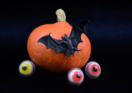 Halloween Pumpkin with Bat and Eyes stock images. Halloween pumpkin on a dark background. Scary pumpkin stock images Imagens