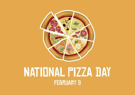 Vector Illustration Keywords: Salami pizza vector. Pepperoni Pizza icon. Pizza Day Poster, February 9th. Important day. American food Ilustracja