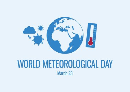 Vector Illustration Keywords: Weather icons set vector. Globe Planet Earth Silhouette. Meteorological Day Poster, March 23 向量圖像
