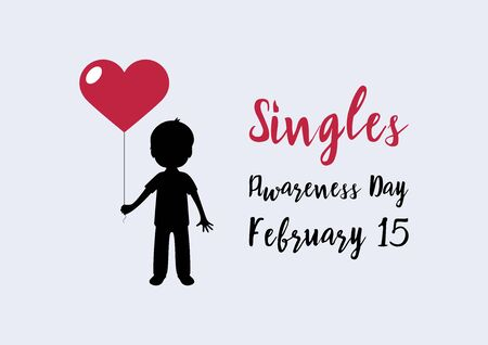 Vector Illustration Keywords: Silhouette of a boy holding a red heart-shaped balloon vector. Vector Illustration Keywords: Singles Awareness Day Poster, February 15. Important day