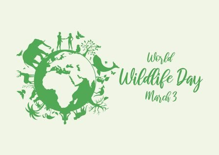 Vector Illustration Keywords: Wild animals silhouette. Green planet vector. Planet Earth with fauna and flora vector. Vector Illustration Keywords: Wildlife Day Poster