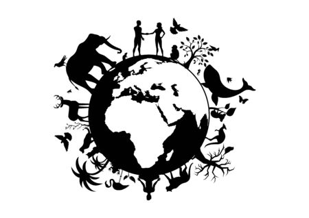Planet Earth vector illustration. Planet Earth black silhouette. Wild animals silhouette. Planet Earth with fauna and flora vector. Animals and people on planet earth