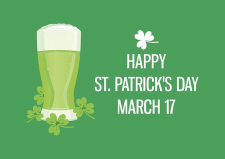 Happy Saint Patrick's Day. Vector Illustration Keywords: Pint of beer icon. St. St. Patricks Day Poster, March 17. Important day