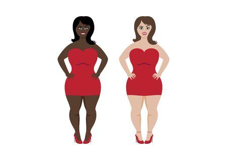 Vector Illustration Keywords: Vector Illustration Keywords: Happy Plus Size Fashion Model in Red Dress Vector. Vector Illustration Keywords: Vector Illustration Keywords: Attractive girls icon set
