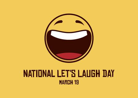 Vector Illustration Keywords: Yellow smiley icon. Happy Yellow Face. Laughing emoticon symbol. Let's Laugh Day Poster Vecteurs