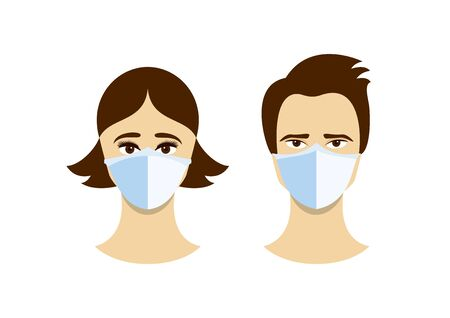 Vector Illustration Keywords: Face with protective mask vector. Man wearing medical mask on face to prevent flu. Coronavirus COVID-19 respiratory disease vector. Coronavirus vector Ilustración de vector