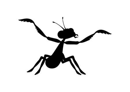 Praying mantis black silhouette icon vector. Mantis icon isolated on white background. Mantis clip art Vettoriali