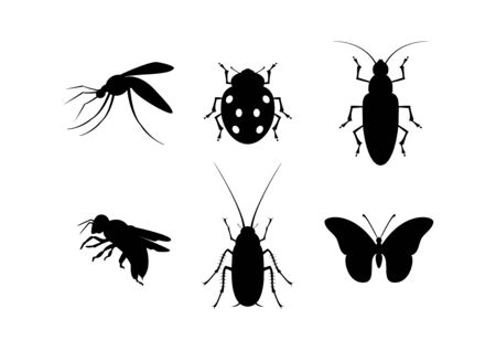 Insect black silhouette icon set vector. Different types of insects vector. Bugs icon isolated on white background. Insect clip art