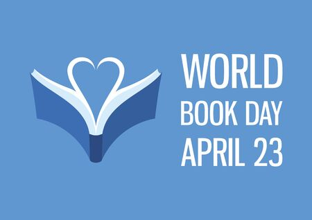 World Book Day with Book and Heart Shaped Vector. Vector Illustration Keywords: Blue book icon. Book Day Poster, April 23