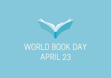 Vector Illustration Keywords: Open blue book icon vector. Book Day Poster, April 23