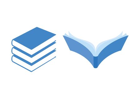 Book blue icon set vector. Vector Illustration Keywords: Stack of books icon set. Blue books collection