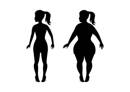 Fat and slim girl icon vector silhouette.